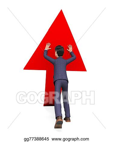 Stock Illustration - Businessman pushing arrow-up means ...