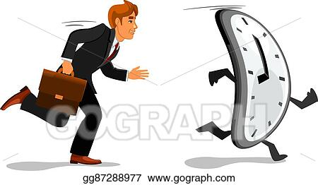Vector Clipart Businessman Running Late For Work Vector