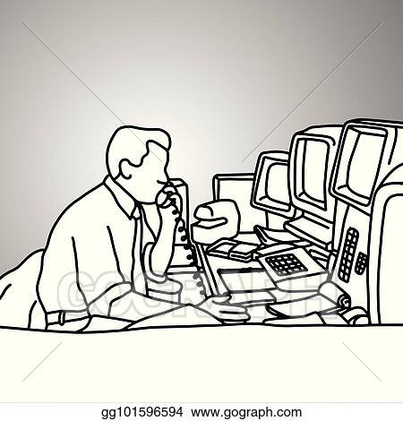 Vector Art - Businessman using desk telephone on his messy
