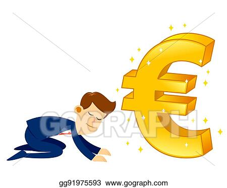 Vector Art Businessman Worshipping Money Golden Euro Symbol Eps