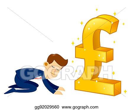 Vector Clipart Businessman Worshipping Money Golden Pound Sterling