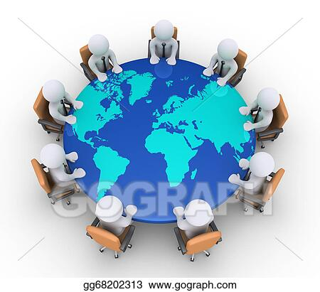 Stock illustrations businessmen sitting on chairs and table with businessmen sitting on chairs and table with world map gumiabroncs Images