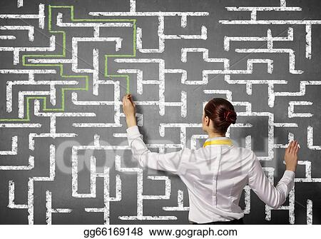Stock Illustration - Businesswoman solving maze problem  Clip Art