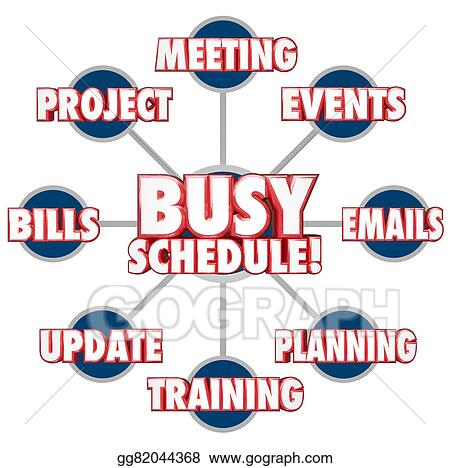 stock illustration busy schedule jobs tasks stressful working life