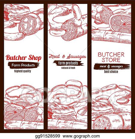 Butchery Butcher Shop Meat Sausages Banners Sketch