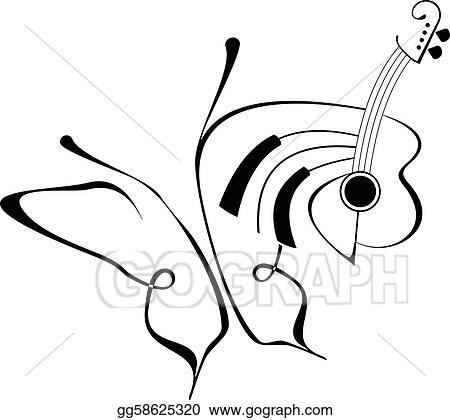 4374e651b Vector Art - Butterfly music tattoo. EPS clipart gg58625320 - GoGraph