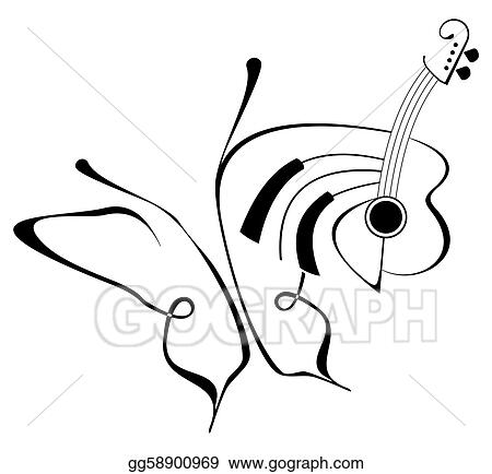bc84676de Drawings - Butterfly music tattoo. Stock Illustration gg58900969 ...
