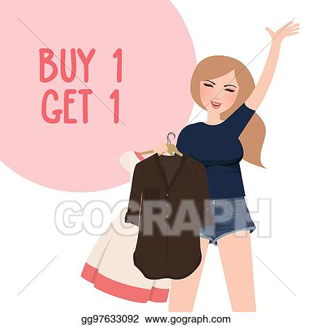 Vector Clipart Buy One Get 1 Free Discount Promo Girl Happy