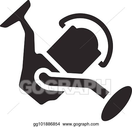 vector illustration bw icons fishing reel stock clip art