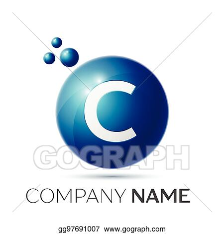 C Letter Splash Logo Blue Dots And Circle Bubble Design On Grey Background Vector Illustration