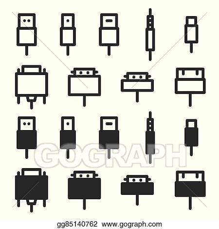 Vector Art - Cable wire computer and plug icons . Clipart Drawing ...