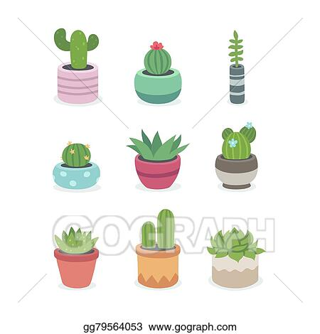 Vector Art Cactus And Succulent Plants In Pots Clipart Drawing
