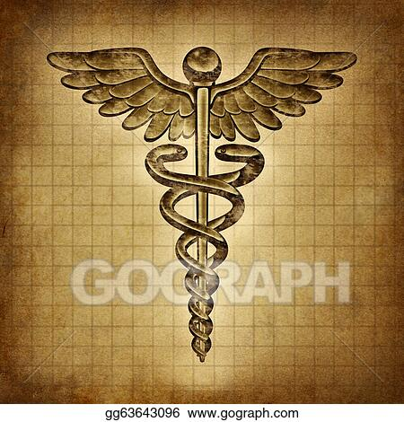 Stock Illustration Caduceus On An Old Grunge Parchment Document As
