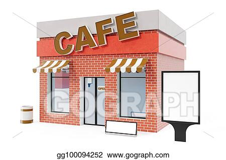 Drawings - Cafe store with copy space board isolated on ...