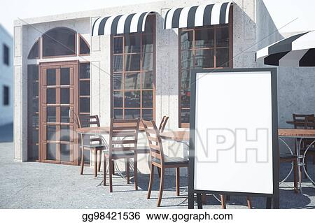 Stock Illustration Cafe Veranda With Empty Whiteboard Clipart Impressive Veranda Dining Rooms Concept