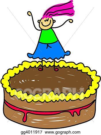 Brilliant Stock Illustration Cake Kid Clip Art Gg4011917 Gograph Birthday Cards Printable Benkemecafe Filternl