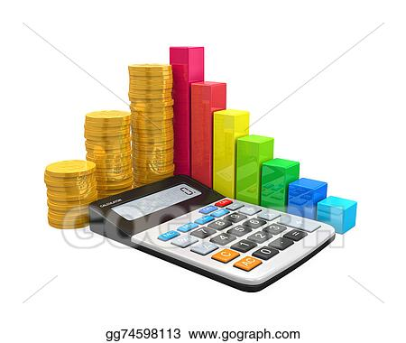 Stock illustration calculator with bar graph and coins stock art calculator with bar graph and coins ccuart Image collections