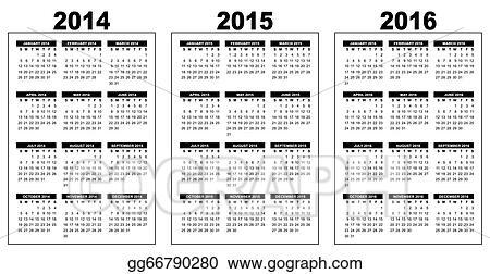 clip art vector calendar 2014 2015 2016 stock eps gg66790280