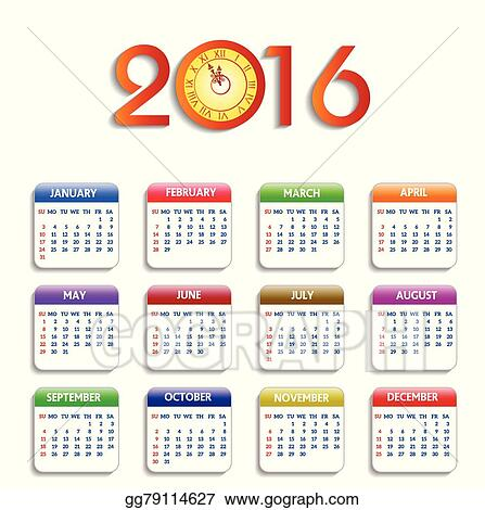 calendar 2016 happy new year