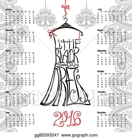 Clip Art Vector Calendar 2016 Yearlettering Little Black Dress