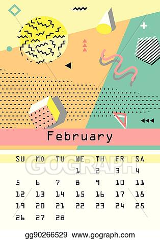 Calendar 2017 Retro Vintage 80s Or 90s Fashion Style Memphis Cards Trendy Geometric Elements And Colors