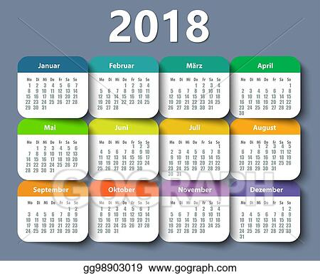 calendar 2018 year german week starting on monday