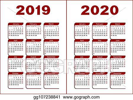 Illustration Calendrier.Vector Clipart Calendar 2019 2020 Vector Illustration
