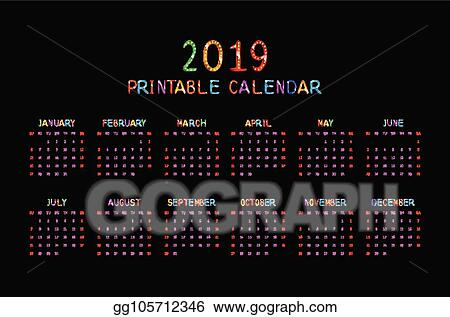 Vector Art Calendar 2019 With Happy Children Eps Clipart