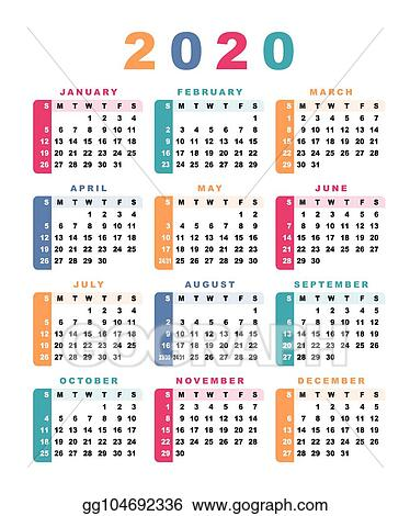 Clip Art Vector - Calendar 2020 (week starts with sunday ...
