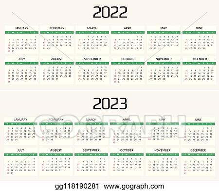 Event Calendar 2022.Vector Stock Calendar 2022 And 2023 Template 12 Months Include Holiday Event Stock Clip Art Gg118190281 Gograph