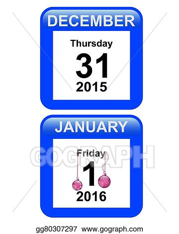 vector art calendar with numbers december 31 january 1 new year clipart drawing gg80307297