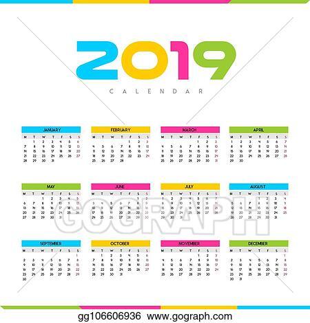Calendario Vector.Vector Illustration Calendario 2019 Stock Clip Art Gg106606936