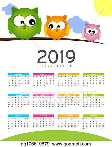 Calendario Vector.Vector Illustration Calendario 2019 Stock Clip Art Gg106619879