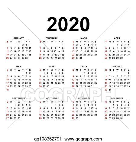 Calendrier 2020 Vectoriel Gratuit.Calendrier 2020 Fetes