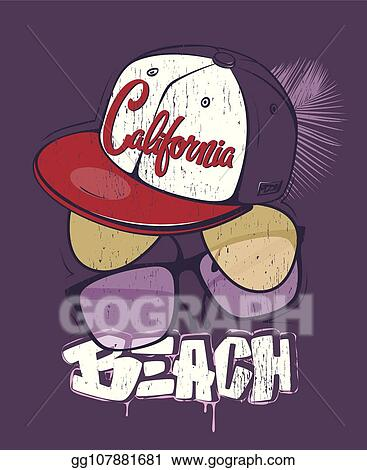 ed81f5746f27 Vector Stock - California beach t-shirt print with glasses and cap ...