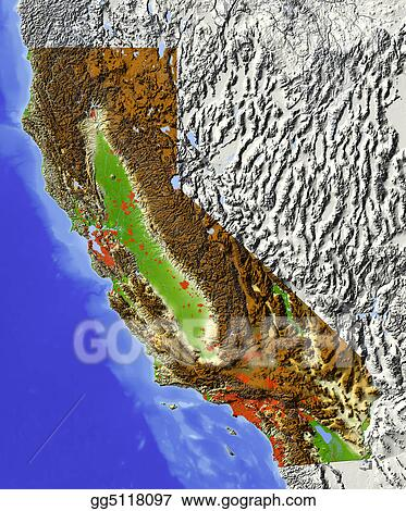 Stock Illustrations - California, shaded relief map. Stock Clipart on la california map, geologic map, california disaster map, california drought 2013 map, california regions coloring page, california nature map, california love map, california safety map, south orange county california map, california chaparral biome map, california regions map, california palm trees art, california geographical map, political map, california painting map, california geology map, california food map, california snow depth map, washington topographic map, california mountains map,