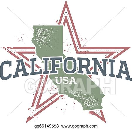 California usa. Vector stock state stamp