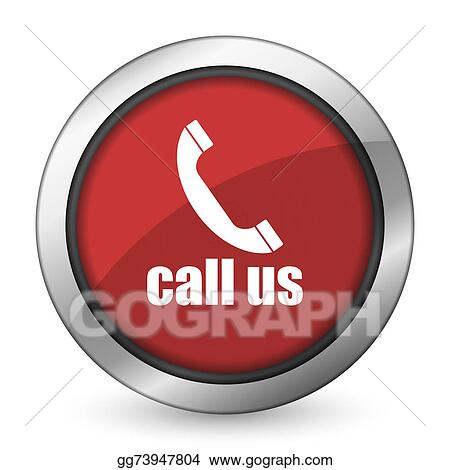 Stock Illustration - Call us red icon phone sign  Clipart