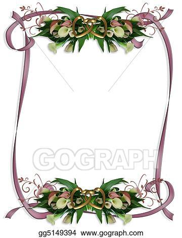 Drawing - Calla lilies border wedding invitation. Clipart Drawing ...