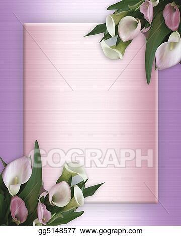 Clip Art - Calla lilies pink border on satin. Stock Illustration ...