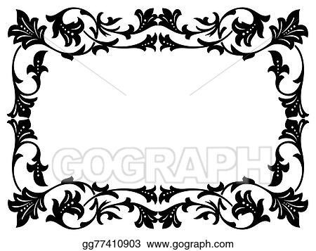 Vector Illustration - Calligraphy penmanship curly baroque frame ...