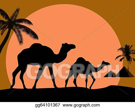 Vector Art - Camel and palms on sunset backgroun  Clipart Drawing