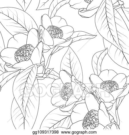 Eps Vector Camellia Flowers Bouquet With Leaves Line Design Drawing Floral Natural Seamless Pattern Texture Stock Clipart Illustration Gg109317398 Gograph