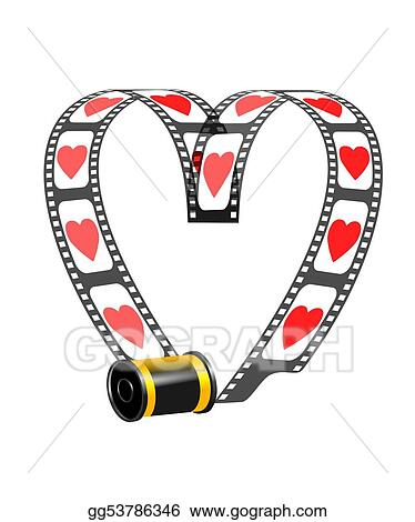 Drawing Camera Film Role With Hearts Clipart Drawing Gg53786346