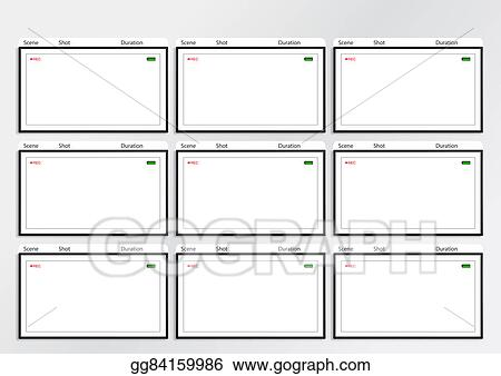 Stock Illustration - Camera Viewfinder Storyboard Template 9 Frame