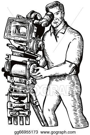 Cameraman Movie Director Filming Vintage Camera
