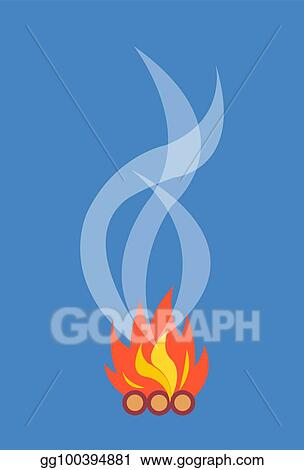 Campfire With Smoke Isolated Illustration On White