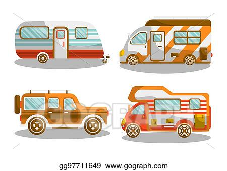 Camping Bus Or Camper Van Vector Illustration
