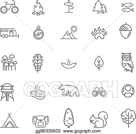 Camping Forest And Outdoor Activities Icons