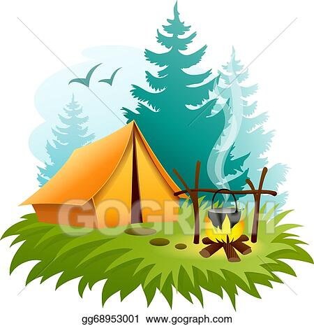 Camping Tent Graphic In Forest With And Campfire